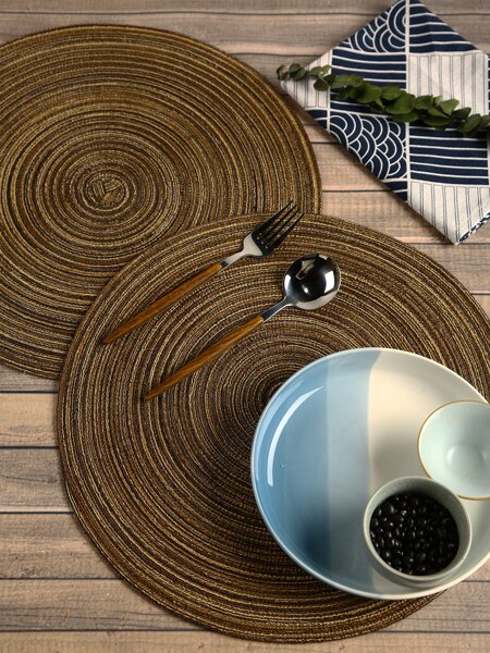 1pc Round Woven Design Placemat