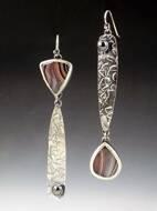 Textured Metal Geometric Drop Earrings