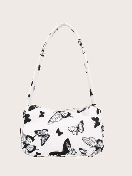 Butterfly Print Baguette Bag