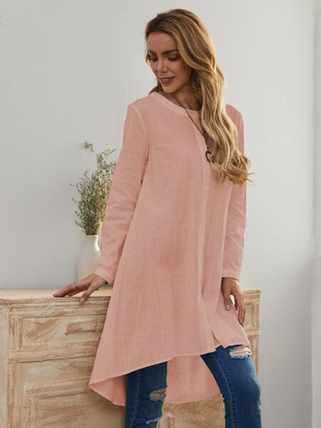 Roll Up Sleeve High Low Blouse