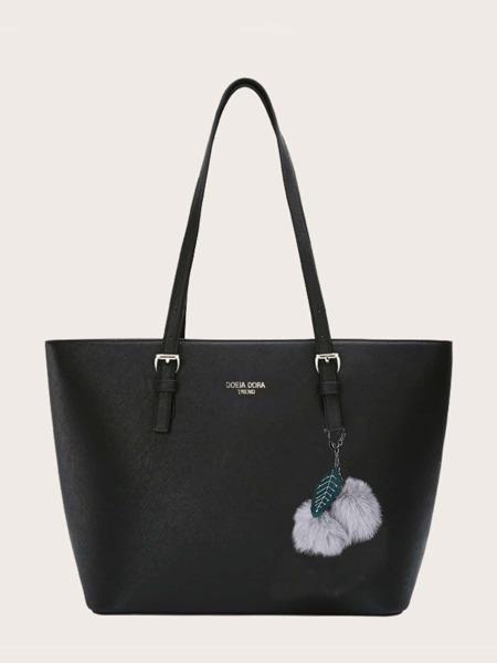 Pom-pom Charm Tote Bag