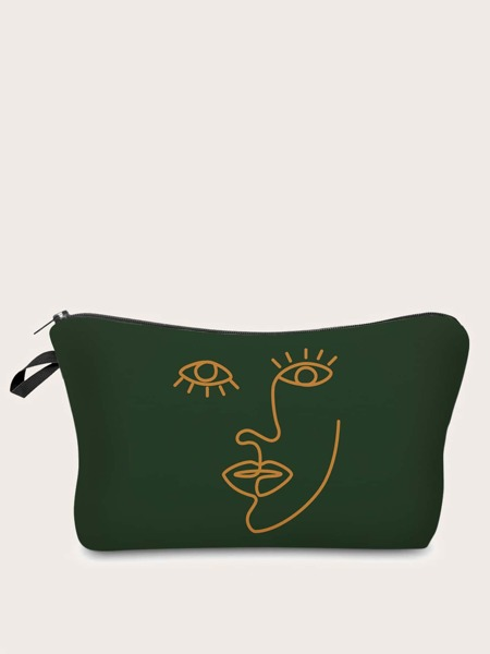 Line Art Zipper Makeup Bag
