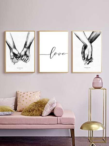 3pcs Hand Print Unframed Painting