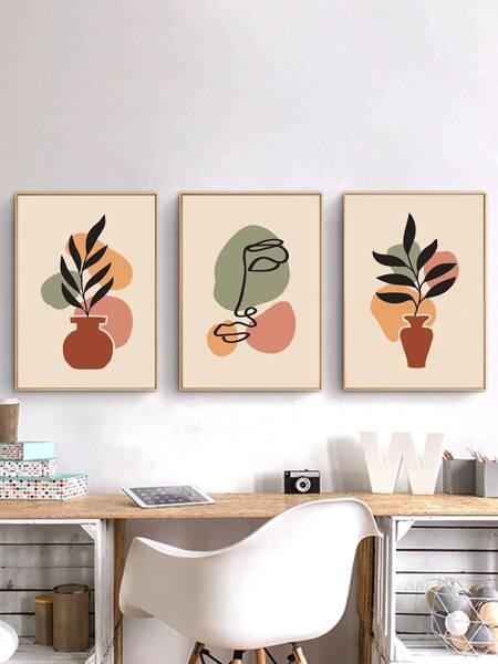 3pcs Plants & Figure Graphic Unframed Painting