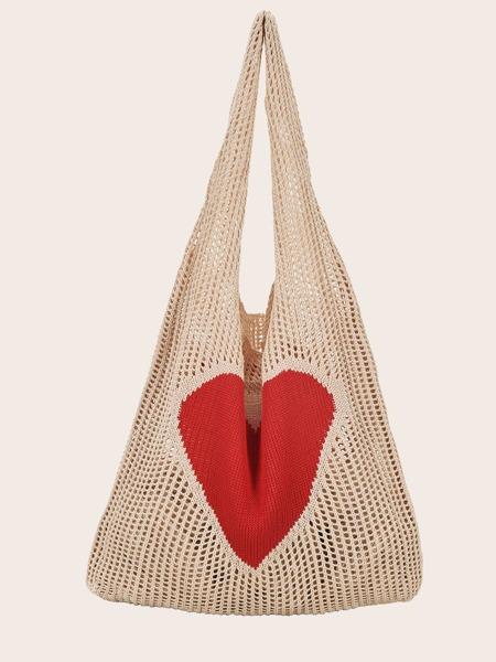 Heart Pattern Crochet Tote Bag