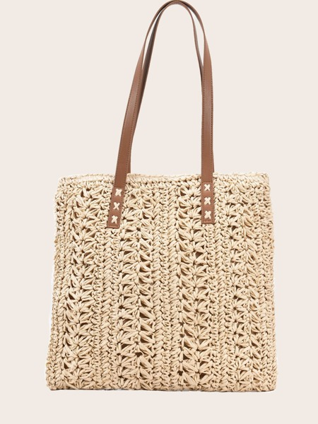 Hollow Out Straw Tote Bag