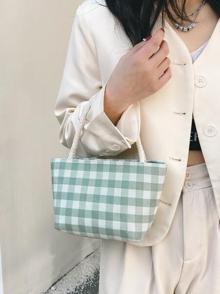 Gingham Bucket Bag
