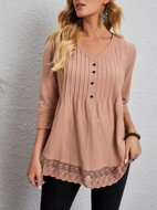Contrast Lace Solid Blouse
