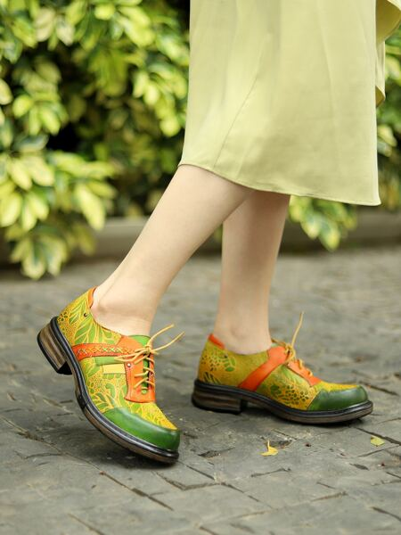 Plant Print Lace-Up Front Leather Oxfords
