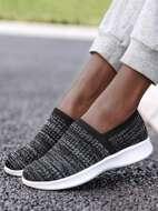 Mesh Panel Slip-On Running Shoes
