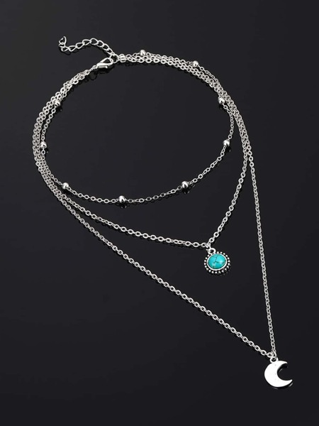 Moon Pendant Layered Necklace