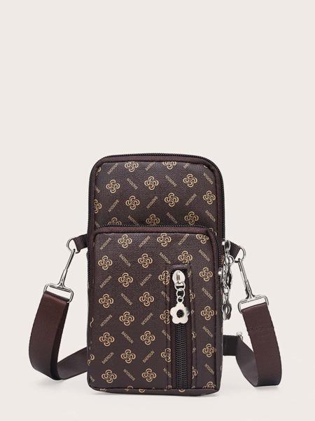 Letter & Floral Pattern Phone Bag