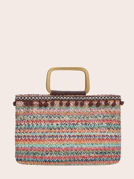 Pom Pom Trim Striped Pattern Straw Bag