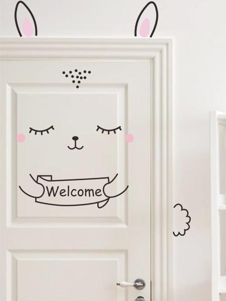 Cartoon Rabbit Kids Door Sticker