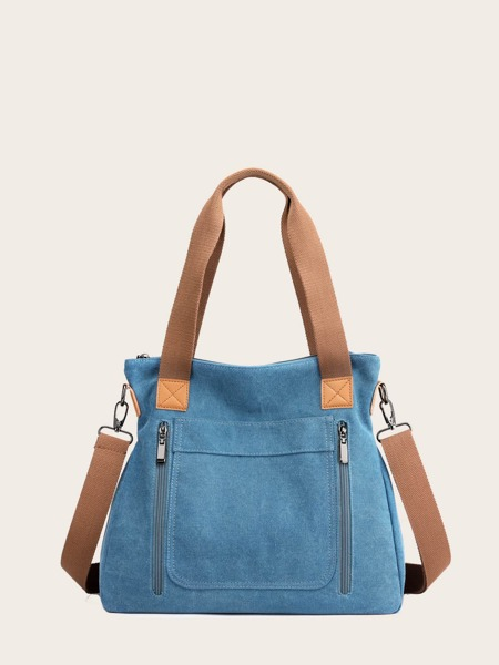 Zip Front Canvas Tote Bag