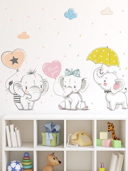 Kids Elephant Print Wall Sticker