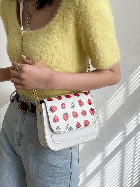 Strawberry Graphic Flap Chain Bag