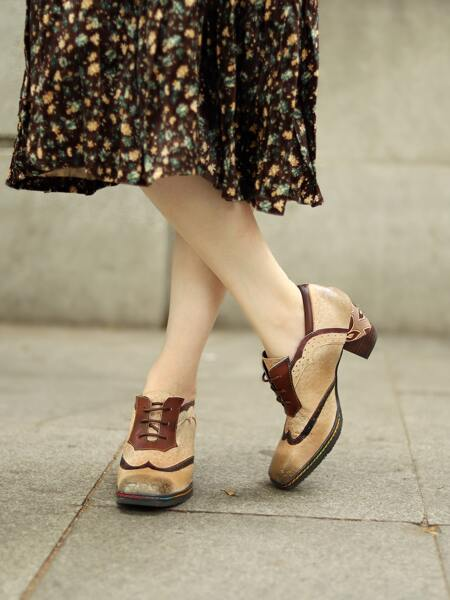 Floral Embossed Lace-Up Front Leather Oxfords