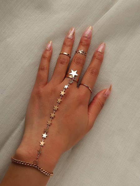 Star Decor Mittens Bracelet & 3pcs Ring