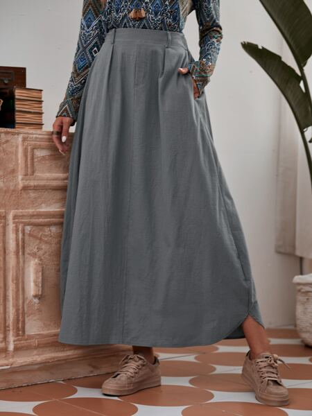 Solid Pocket Side Skirt Without Belted