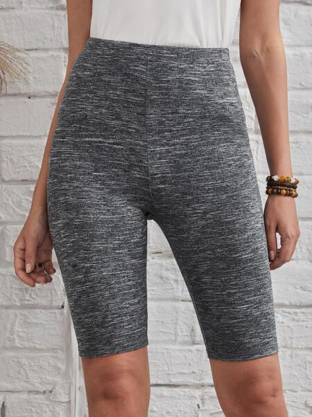 Heathered Knit Biker Shorts