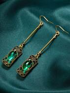 Geometric Rhinestone Charm Drop Earrings