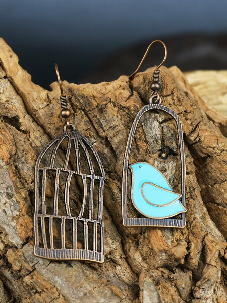 Bird & Birdcage Drop Earrings