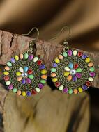 Textured Round Drop Earrings
