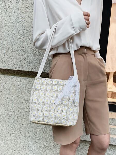 Lace Decor Floral Embroidery Shoulder Bag