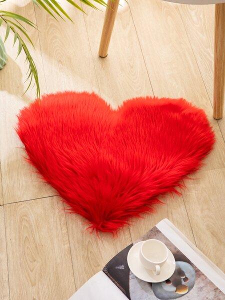 Heart Shaped Plush Rug
