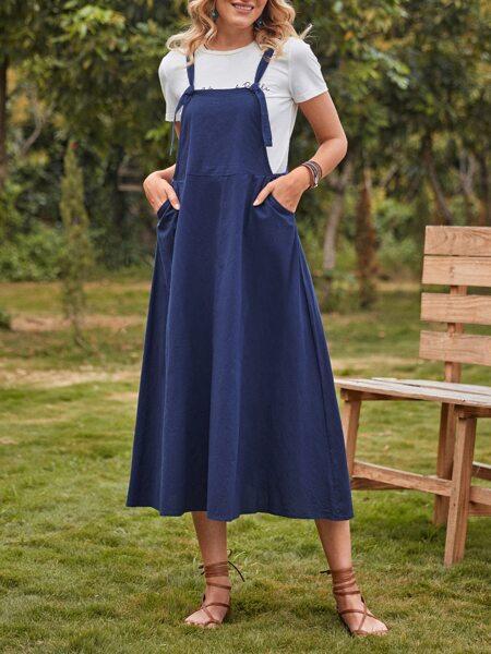 Slant Pocket Solid Overall Dress