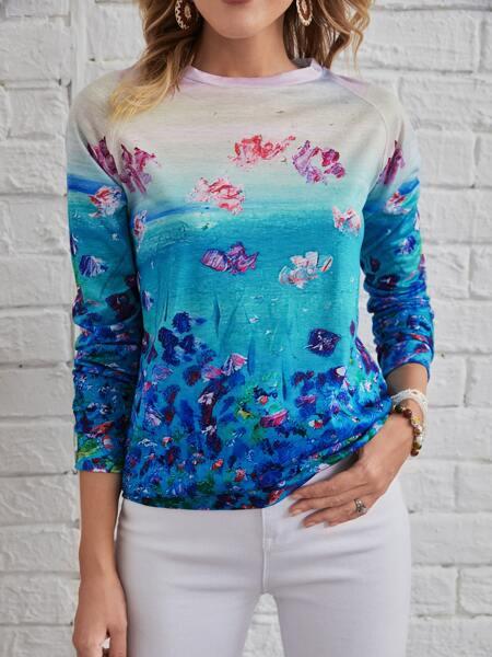 Floral Print Raglan Sleeve Sweatshirt