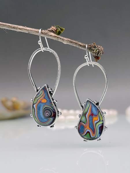 Water-drop Detail Geometric Earrings
