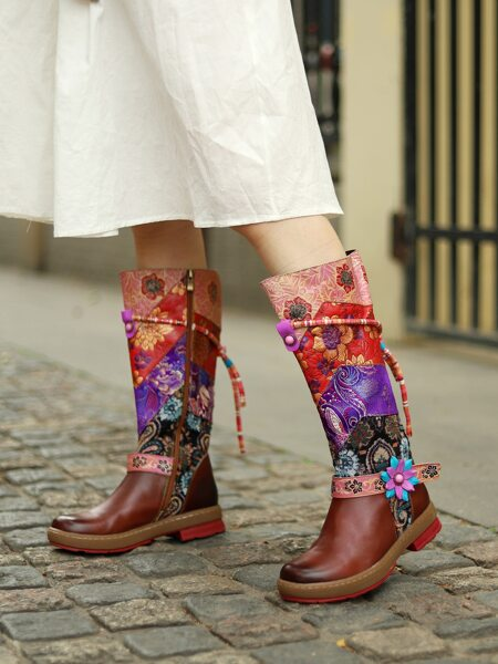 Flower Pattern Leather Mid Calf Boots