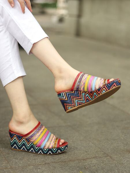 Chevron Contrast Mesh Leather Wedge Mules