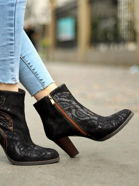 Floral Lace Chunky Heeled Leather Ankle Boots