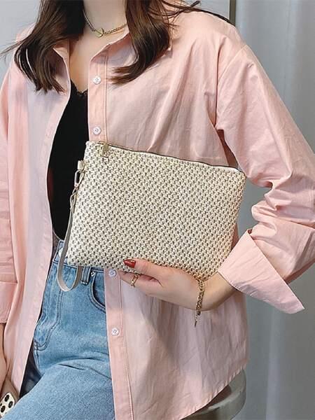 Straw Clutch Bag With Wristlet