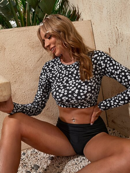 Ditsy Floral Long Sleeve Bikini Swimsuit