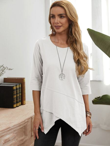 Solid Overlap Blouse