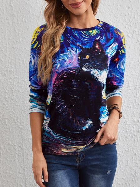 Oil Painting Cat Print Sweatshirt