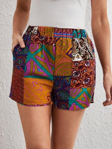 Patchwork Wide Leg Shorts