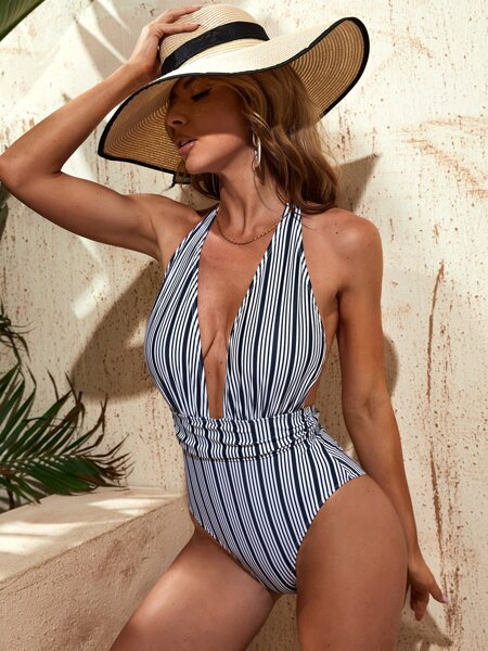 Striped Plunge Neck One Piece Swimsuit