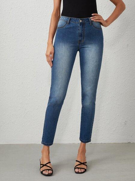 Light Wash High-Waisted High Stretch Skinny Jeans