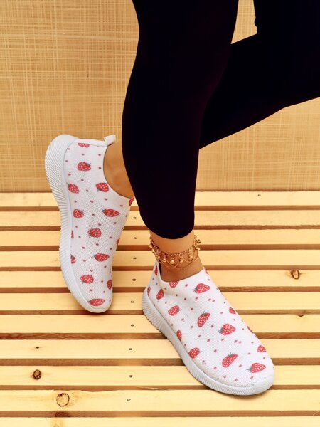 Fruit Graphic Slip-On Sneakers