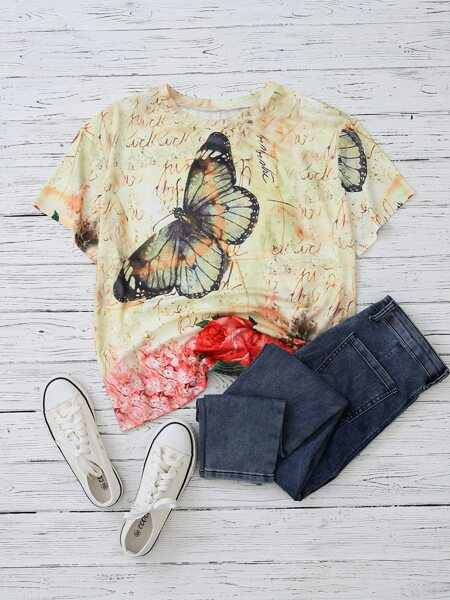 Plus Butterfly & Floral Print Tee