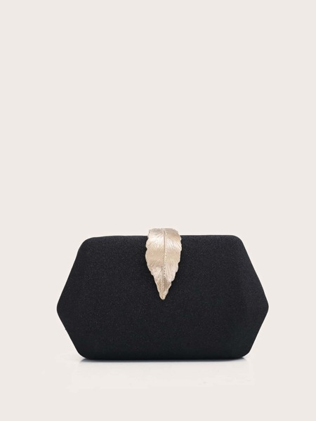Metal Leaf Decor Chain Box Bag