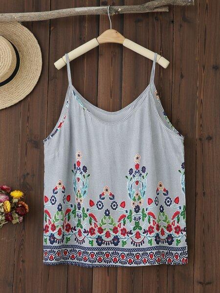 Plus Floral Print Cami Top