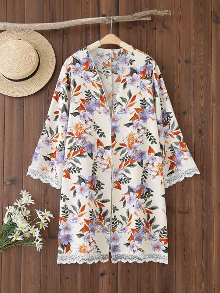 Plus Flower Print Contrast Lace Kimono