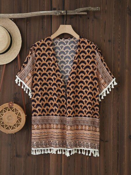 Plus Floral & Geometric Print Tassel Trim Kimono