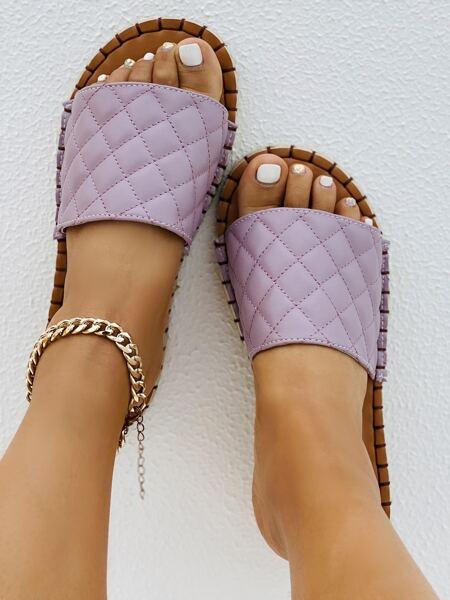 Quilted Espadrille Slide Sandals